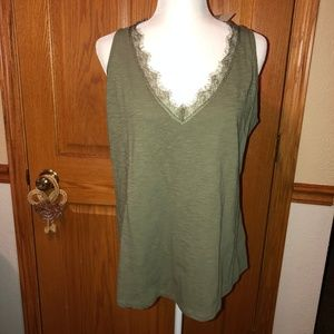Maurices 24/7 Olive Green V-Neck Lace Tank Top NWT